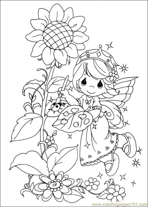 precious moments fairy painting coloring page 2 - Kids Painting Pages