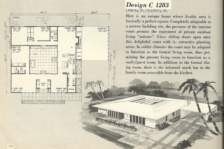 Vintage house plans, 1960s house plans, mid century house plans another cool MCM house.