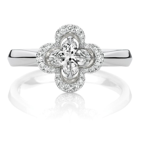 The rare and beautiful Lily Cut, 0.73ct of diamonds in 18ct white gold. Exclusive to Showcase.