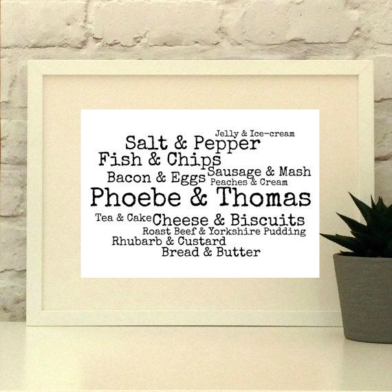 Personalised Wedding Gift Created from your choice of words and phrases. Designed and made in England.  Shipped world wide.  www.pepperdoodles.co.uk  Personalised print, wedding gift, anniversary gift, valentines gift, engagement gift, Custom print.