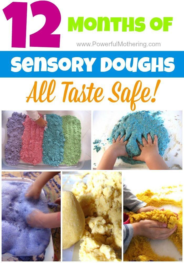 12 months of taste safe sensory dough exploration!