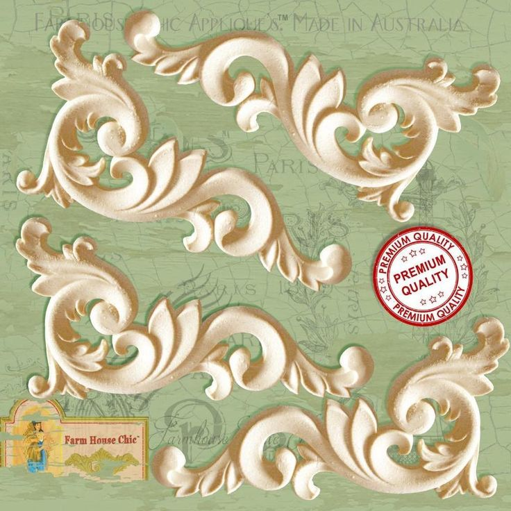 4 x Shabby Chic French Furniture Moulding Furniture Corners or Center Appliques