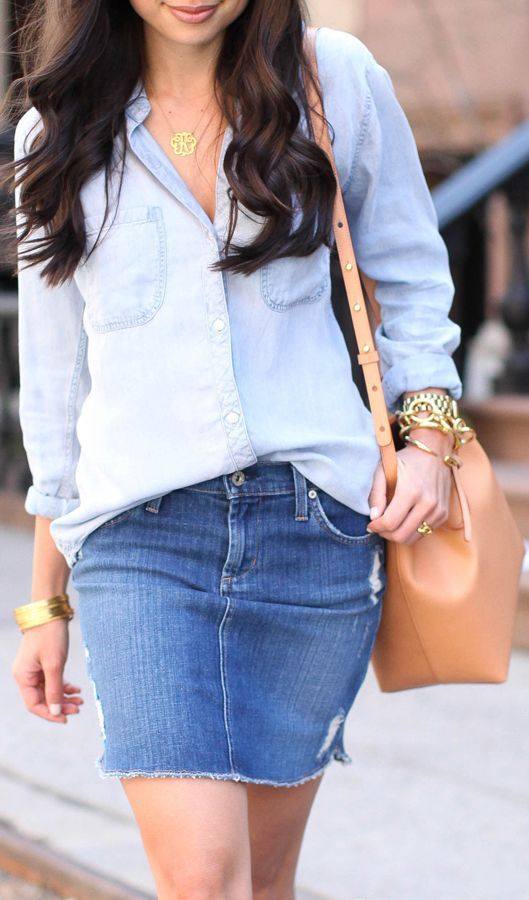 17 Best images about Denim - Skirts on Pinterest | Knee length ...
