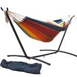 Prime Garden 9 FT. Double Hammock with Space Saving Steel Hammock Stand, Elegant Tropical Stripe - http://howtomakeastorageshed.com/articles/prime-garden-9-ft-double-hammock-with-space-saving-steel-hammock-stand-elegant-tropical-stripe/