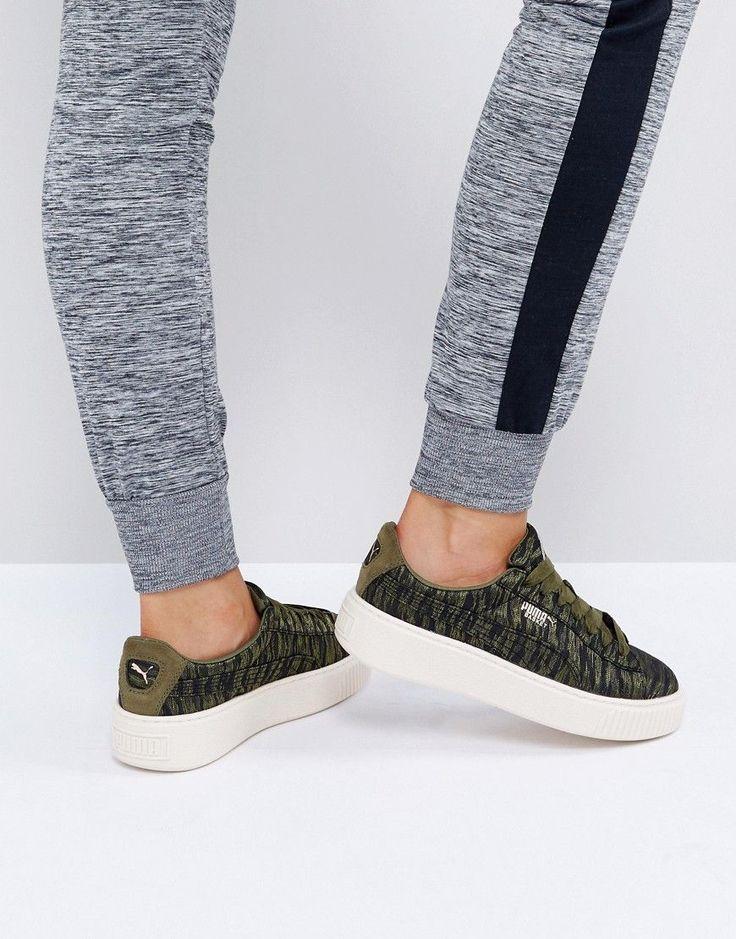 Puma Metallic Print Basket Platform Sneakers In Khaki - Green