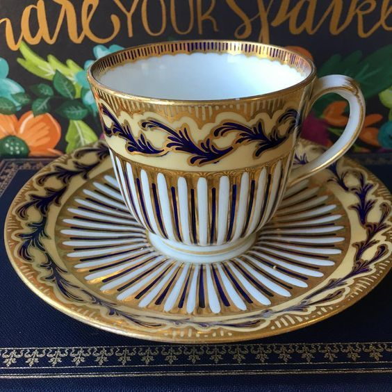 Rare and collectable Davenport cup and saucer decorated in very striking gold pattern.