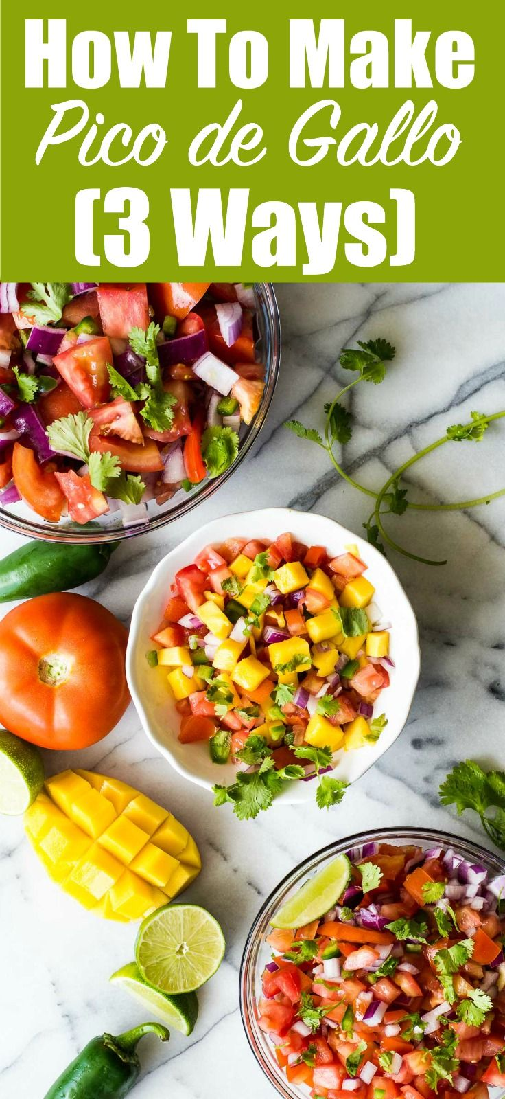 Learn how to make fresh pico de gallo at home!  I'm sharing 3 different ways, plus lots of ways that you can customize it to make it your own!