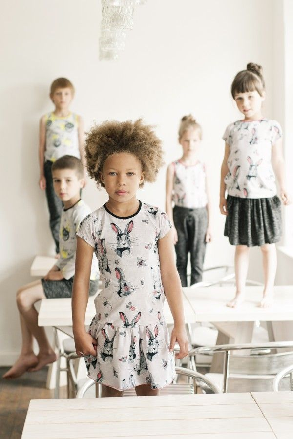 Sweet rabbit and insect prints for Hebe kidswear spring 2015