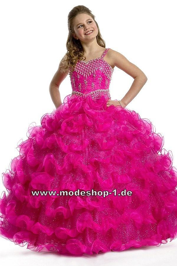 Ballerina Abendkleid Ballkleid für Mädchen Pinkes Blumenmädchenkleid Brautjungfernkleid Bodenlang  www.modeshop-1.de