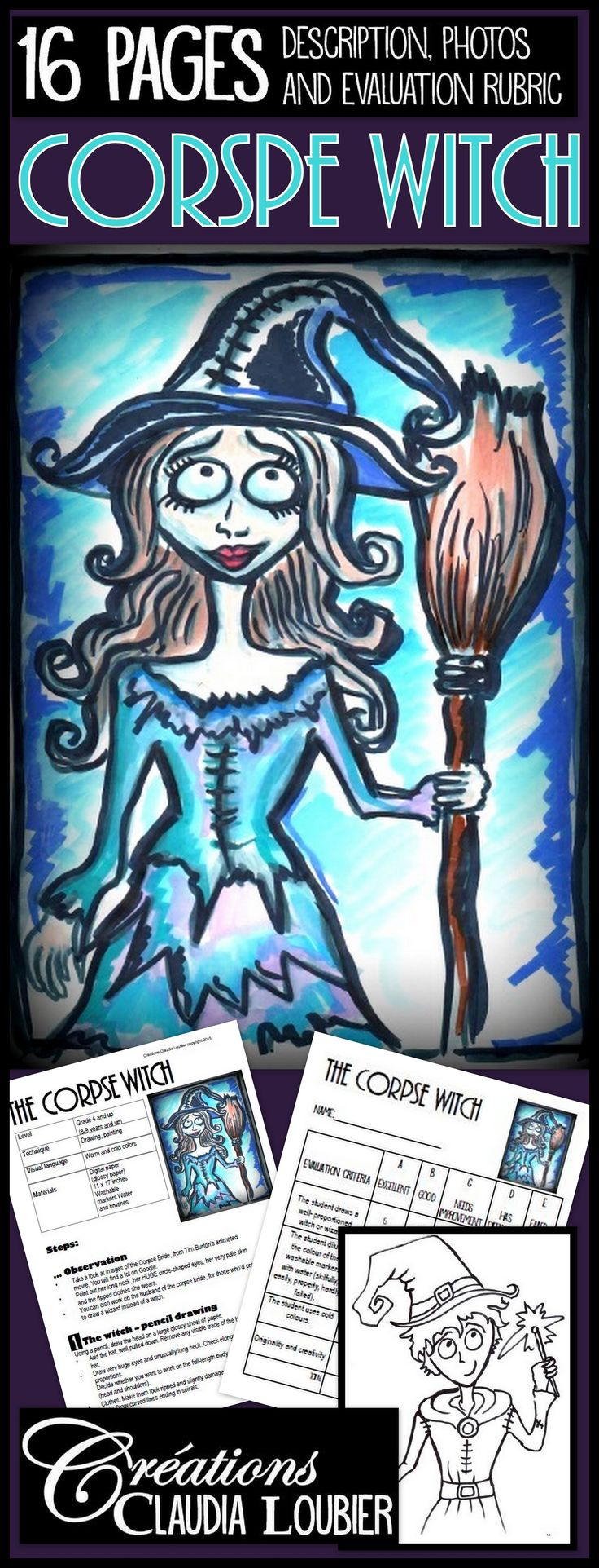 Art project inspired from Tim Burton's animated movie The Corpse Bride. Includes two pages of complete description of the project and 16 pages of illustrations that can you can display on an interactive whiteboard or print out. Materials are very simple. All you will need are washable markers and glossy paper! Evaluation chart and picture of a witch included.