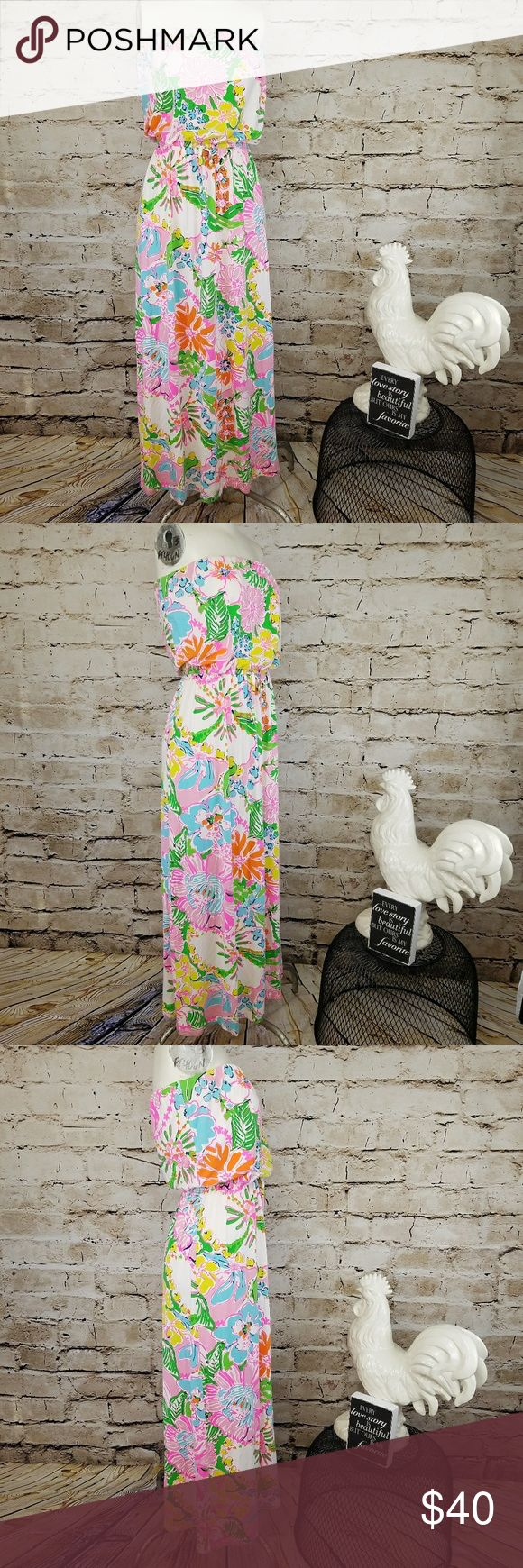 Lilly Pulitzer for Target Maxi Dress Nosie Posey S Lilly Pulitzer for Target - Maxi Dress Nosie Posey -  Sz S  Multi-Color Tropical Colors Maxi Dress Colors- White, Pink, Green, Orange, & Blue Floral Print Stretch & Soft Built in Elastic Band for Bra Support Elastic Band Waist - Empire Waist - Drawstring Waist Strapless  Great for casual wear, girls night, brunch, date night, festival, running around town & etc!  EUC - Excellent Used Condition 95% Rayon & 5% Spandex  Measurements: Armpit to…