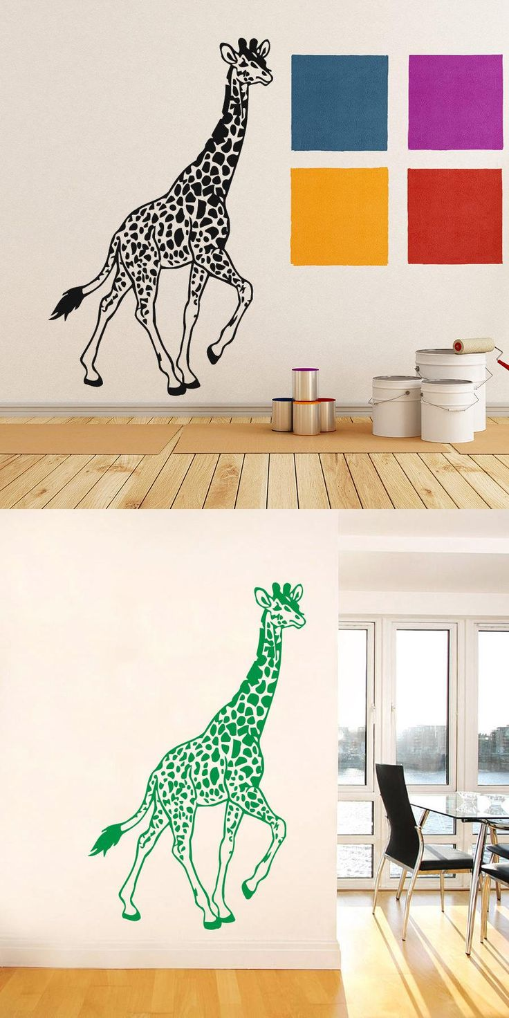 [Visit To Buy] Walking Giraffe Cool Handsome Wall Sticker Home Decor Living Room  Wall Art Vinyl Wall Stickers For Kids Room Nursery Mural Part 64