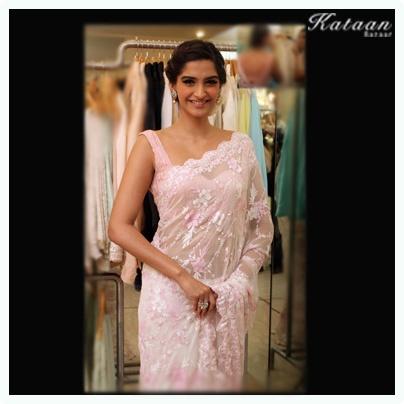 #Sonam Kapoor in an elegant Pink saree
