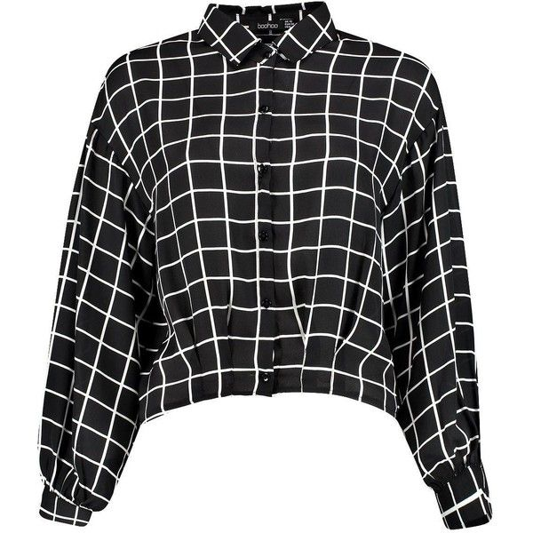 Ina Grid Print Chiffon Blouse ($2.82) ❤ liked on Polyvore featuring tops, blouses, shirts, chiffon top, shirt blouse, grid print shirt, chiffon blouse and chiffon shirt