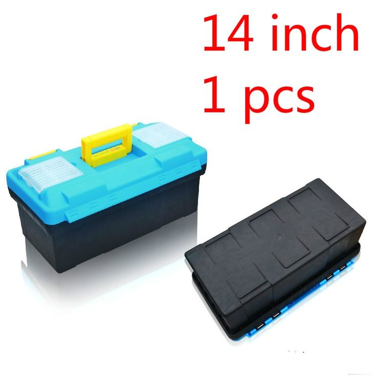 1pcs 14 Inch Plastic Tool Box Multifunctional Household Maintenance Tool Box Reinforced Vehicle Mounted Storage Box