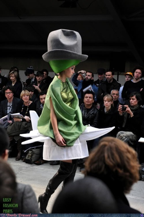 That model is right now regretting her decision not to pursue an MBA instead.: Crazy People, Mad Hatters, Colleges Memes, Funny Stuff, Big Hats, Funny Gif, Planes Fashion, Understand Fashion, Crazy Funny