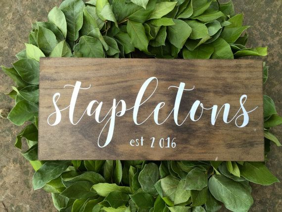 A beautiful hand painted family name pine wood sign. This rustic sign adds warmth to a room tucked on a shelf or hung on the wall. Also a perfect