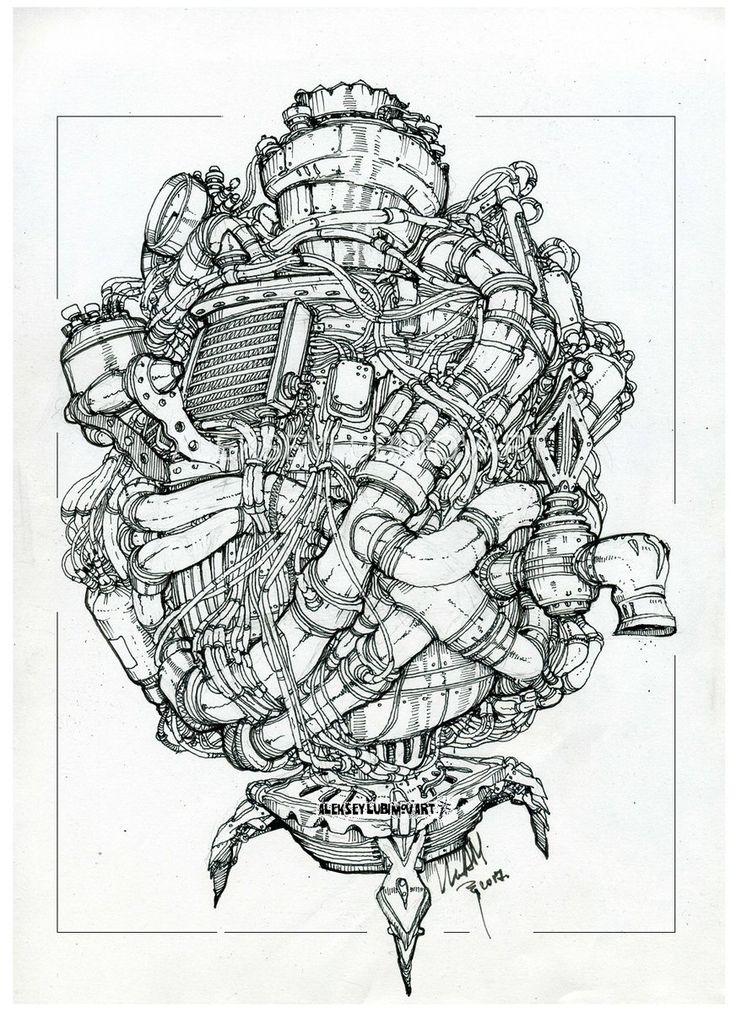 Самовар /Author Aleksey Lubimov. #алексейлюбимовбиоме.ханика #алексейлюбимов #стимпанк #дизельпанк #биомеханика #marchofrobots #steampunk #dieselpunk #alekseylubimov_art #biomechanical #lineart #engine #самовар