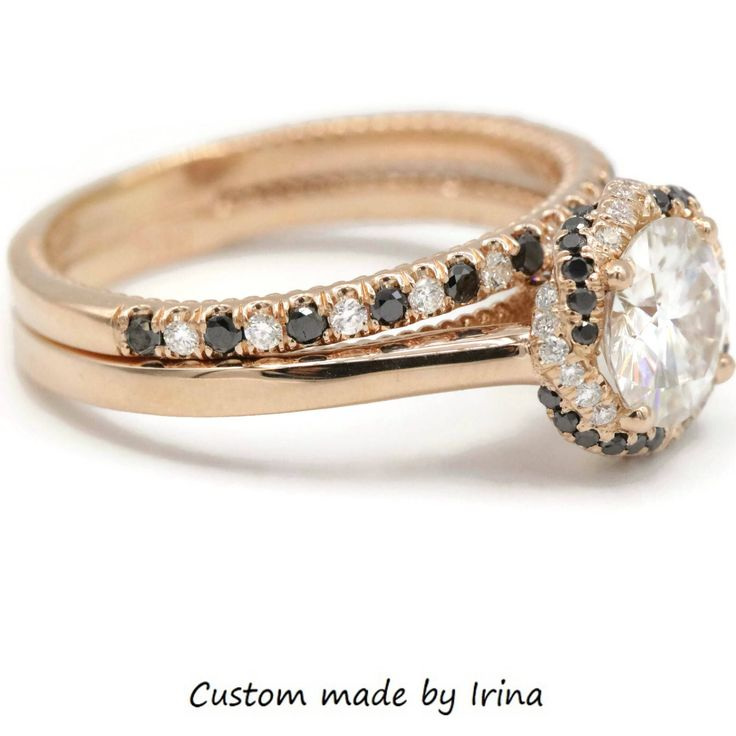 Cute Braided Halo rings custom made by Irina mm Forever One Moissanite Rings Wedding Set
