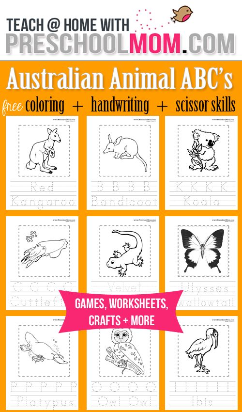 Australia Coloring Pages ABC's Animal coloring pages, handwriting, then cut out…