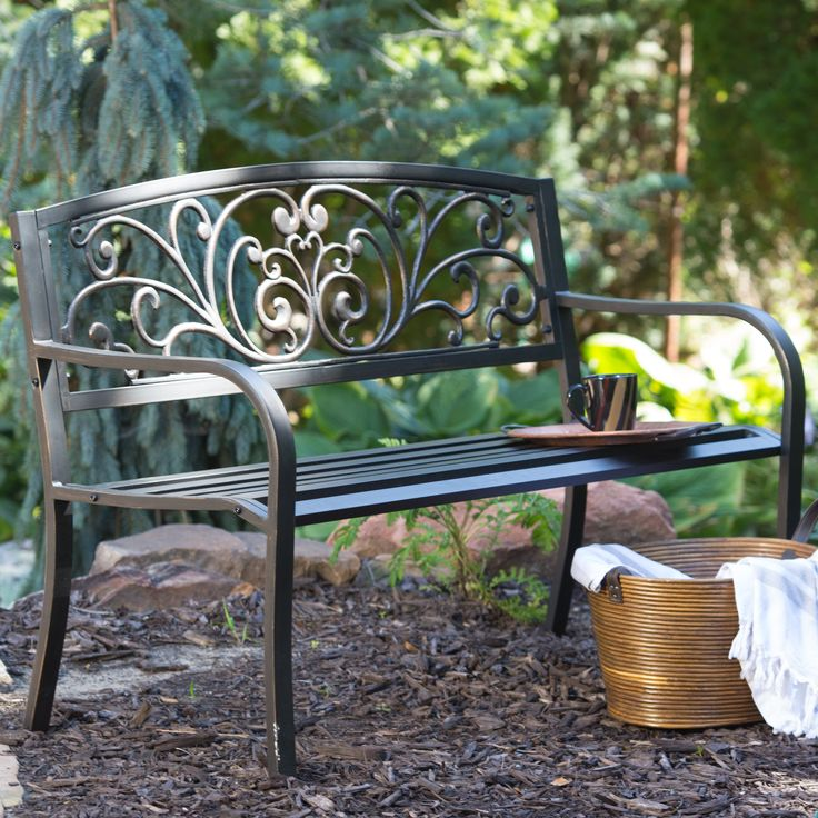 Coral Coast Scrolling Hearts Curved Back Metal Garden Bench | From  Hayneedle.com