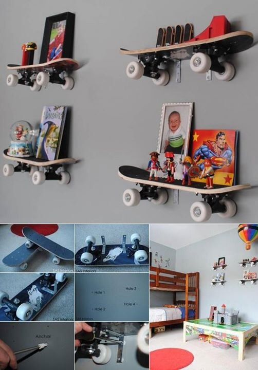 cool skateboard wall shelves ideas | 17+ best images about Boys Rooms on Pinterest | Football ...