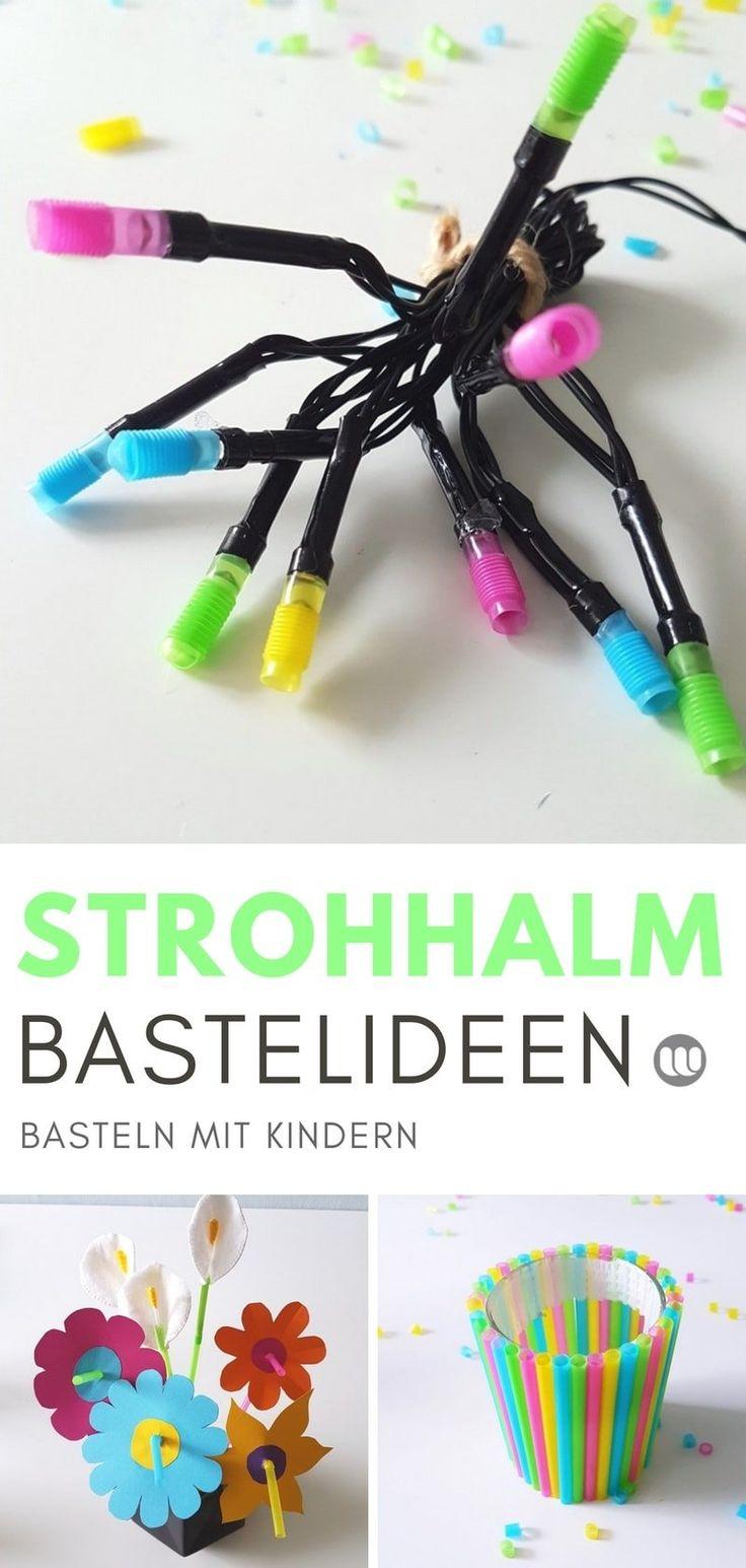 Basteln mit Strohhalmen: 4 kreative Ideen für Kinder + Freebie