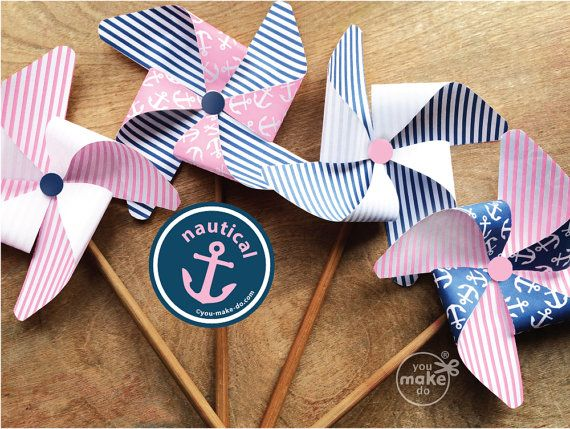 Pink Nautical Party Decorations Nautical Girl Birthday Nautical Baby Shower  Girl Nautical Party Favors Nautical 1st Birthday Girl Pinwheels