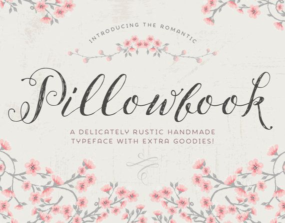 Introducing Pillowbook – a romantic hand drawn typeface!  BE SURE TO CLICK ON THE ZOOM FEATURE FOR THE PREVIEW IMAGES TO SEE ALL THE DETAIL AND