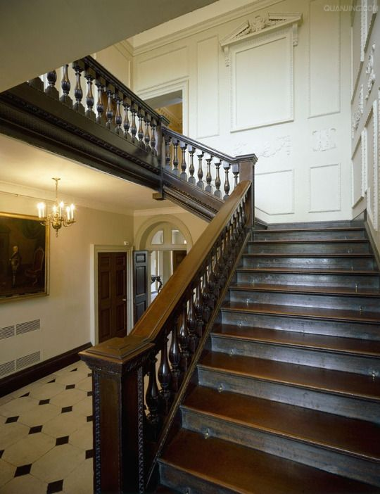 Marble Hill House. Interior View Of The Main Hall Showing The Carved  Mahogany Staircase.
