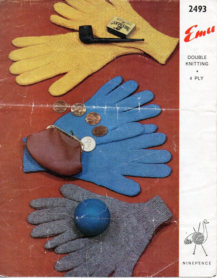 Mens Womens Childrens Gloves Knitting Pattern 2 Needles