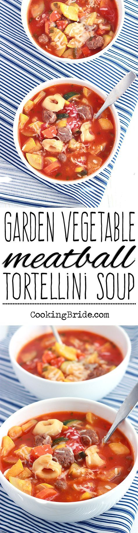 Meatball tortellini soup with diced tomatoes, basil, fresh veggies, sausage meatballs, and cheese tortellini.