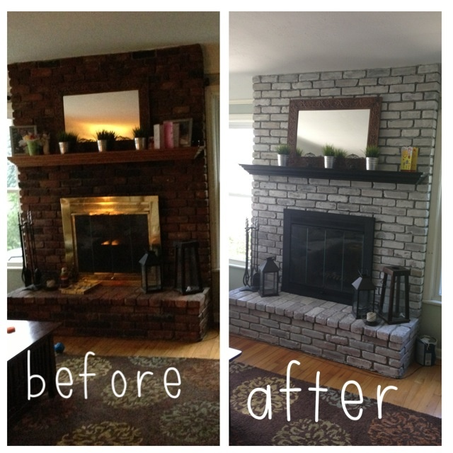 Whitewash fireplace. Weekend DIY. Less than $30. 16 oz paint mixed with 24 oz water. Heat resistant spray paint to upgrade brass doors. Re-stained mantle. Quick and easy!