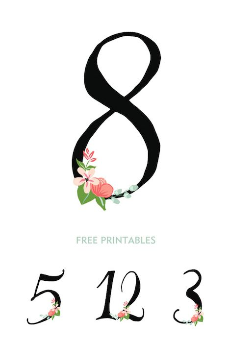 Hand drawn free printables with subtle floral decoration @intimatewedding #freeprintables #tablenumbers