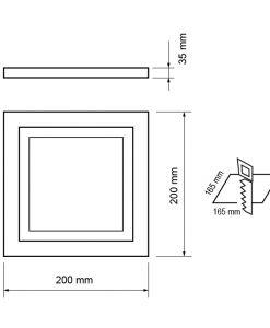 LED panou de sticla pentru incorporare, patrat, 18Watt, SMD5730, lumina neutra