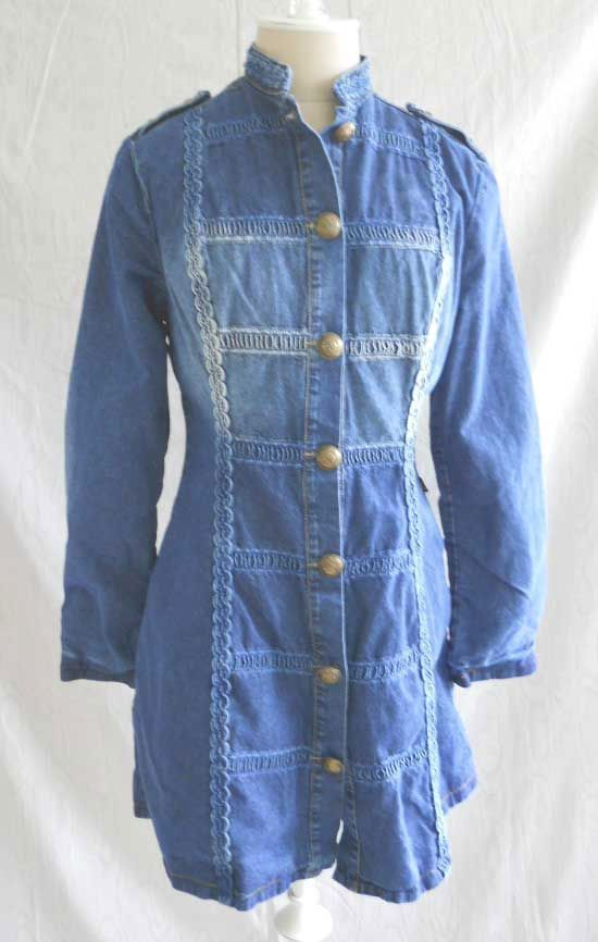New with Tag Vintage 70s Brazilian Denim Dress Nautical Vide Bula Jean Military  #VideBula #Casual