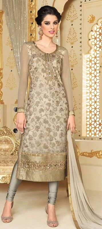 454904 Beige and Brown color family Party Wear Salwar Kameez in Net fabric with Lace, Machine Embroidery work .