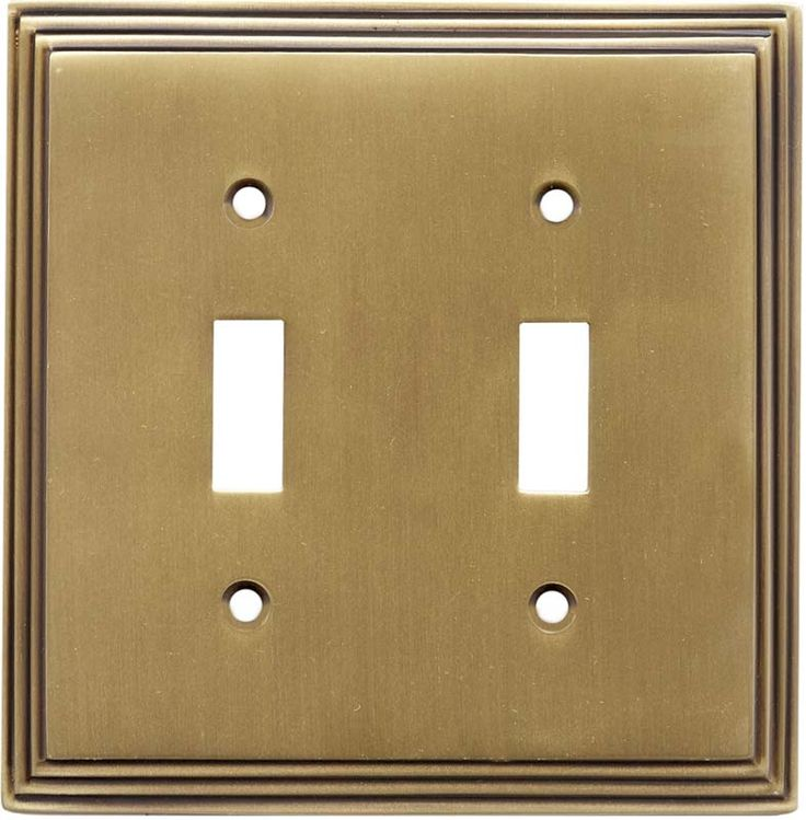 Art Deco Step Satin Antique Brass Switch Plates Outlet