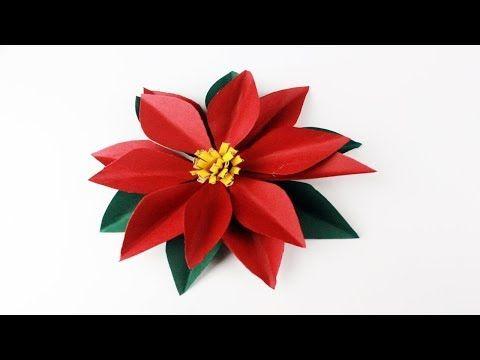 Como Hacer una Flor De Nochebuena De papel Paso a Paso - YouTube