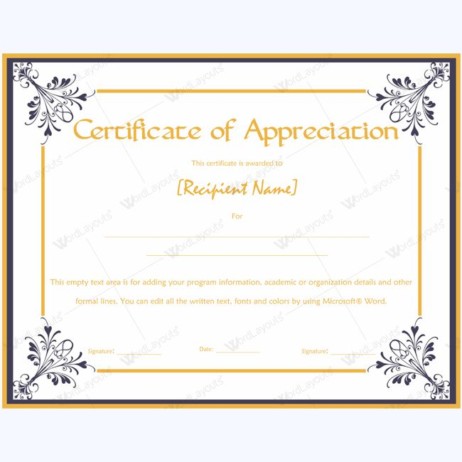 26 best Certificate of Appreciation Templates images on Pinterest - examples of certificate of recognition