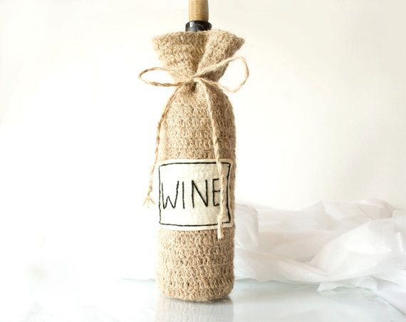 co cute! -- Personalized Wine Bottle Cozy Natural Eco friendly  by Yanettine, $26.00