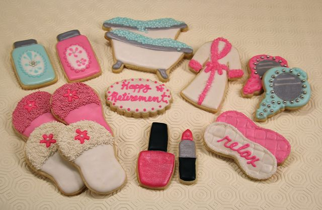 spa cakes | spa cookies retirement cookies for a friend who enjoys the spa
