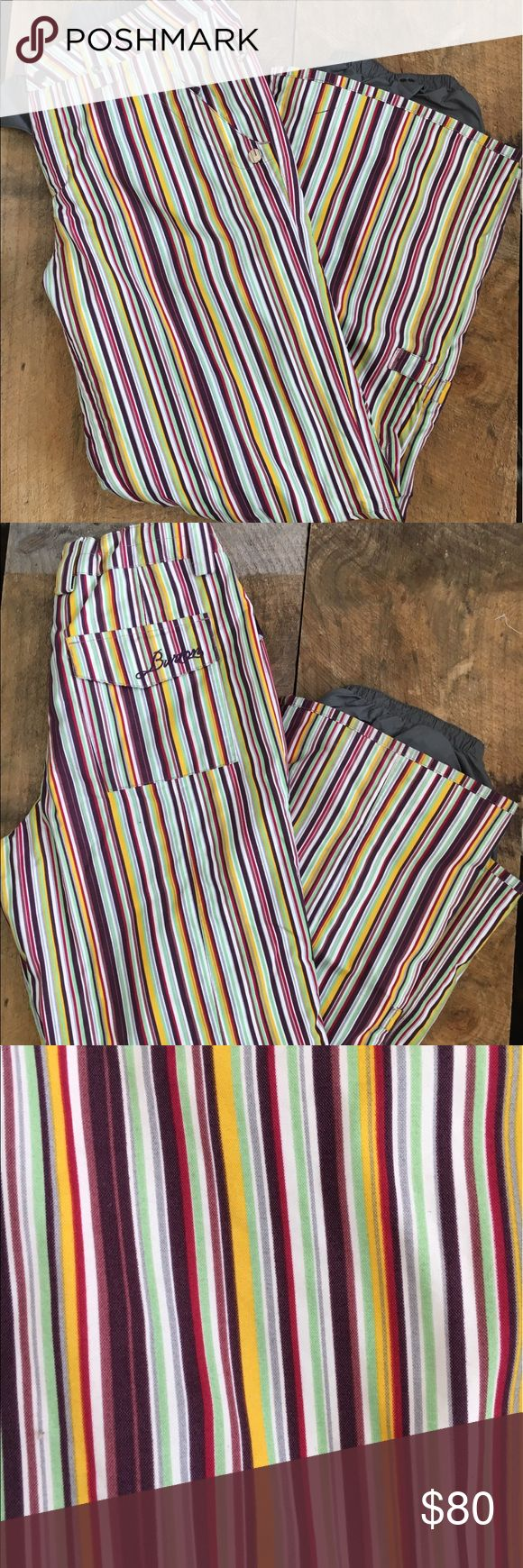 Burton Snowboard Pants Super rad snowboard pants by Burton. Multicolored stripe in ivory, yellow, purple, mint green and red. Top snap is stuck on other piece but easy fix. Super warm and stylish for the slopes! WOMENS SIZE M.   ALL SALES ARE FINAL. PLEASE ASK ANY QUESTIONS PRIOR TO PURCHASING Burton Other