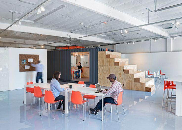 "LA-based CHA:COL has completed a ""bare bones"" office for tech startups that features a retrofitted shipping container and a wooden bleacher that doubles as a storage unit.:"