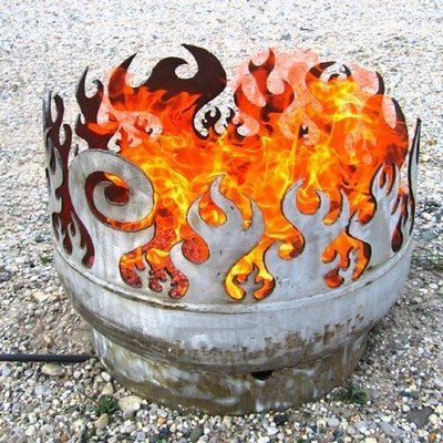 Fire pit made from propane gas tank.