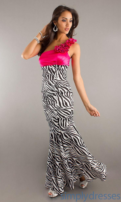 Floor Length One Shoulder Zebra Print Dress