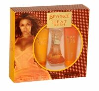 Beyonce Heat Rush Trio Gift Set Beyonce Heat Rush Gift Set for women has opening top notes of red vanilla orchid, magnolia, neroli and peach, fusing with a heart of honeysuckle, almond and musky cream, all of which is rounded off with a smooth base of sequoia wood, Tonka and amber.