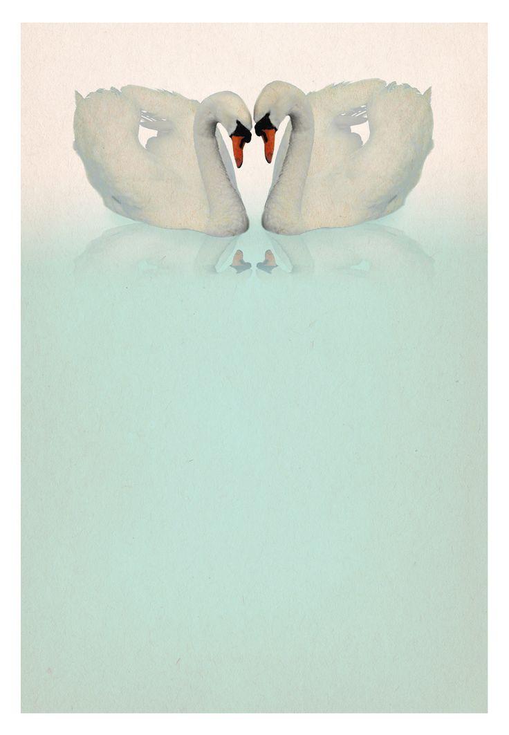 Two Swans - Free Printable Wedding Invitation Template | Greetings Island