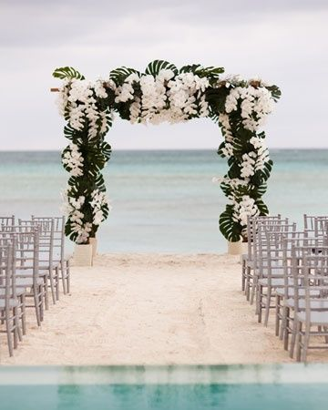 A huppa of monstera leaves and white phalaenopsis orchids was built on the edge of the beach