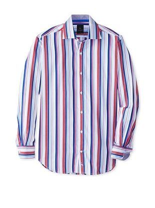 65% OFF TailorByrd Men's Bandit Long Sleeve Multi Striped Classic Sportshirt (Royal)